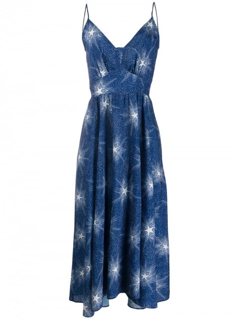 Paco Rabanne - speckled star-print midi dress - women - Polyester - 36, 38 - Blue