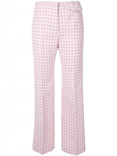 Paco Rabanne - gingham check straight-leg trousers - women - Polyester/Viscose/Virgin Wool - 36, 38 - PINK
