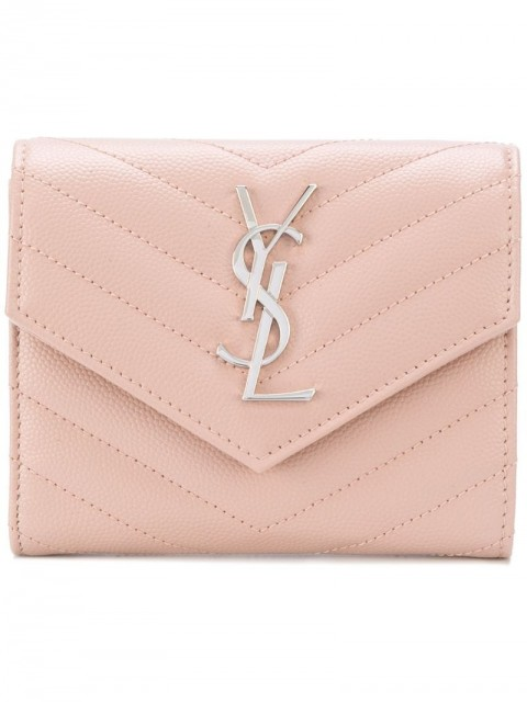 Saint Laurent - monogram compact tri-fold wallet - women - Calf Leather - One Size - PINK