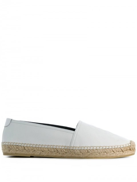 Saint Laurent - Monogram embossed espadrilles - women - Rubber/Leather/Raffia - 38.5, 37.5, 41, 40.5, 36, 40, 37, 39, 38, 35, 39.5 - White