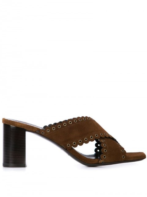 Saint Laurent - LouLou scalloped eyelet mules - women - Suede/Leather - 36, 37, 37.5, 39.5, 36.5, 40, 38 - Brown