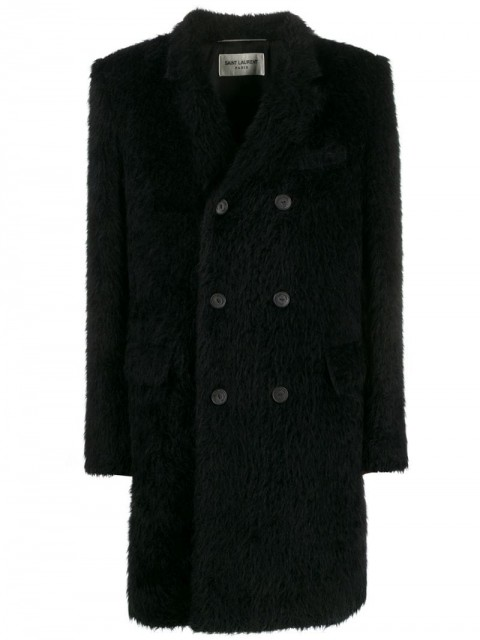 Saint Laurent - furry double-breasted coat - men - Cupro/Virgin Wool/Alpaca Wool/Cotton - 50 - Black