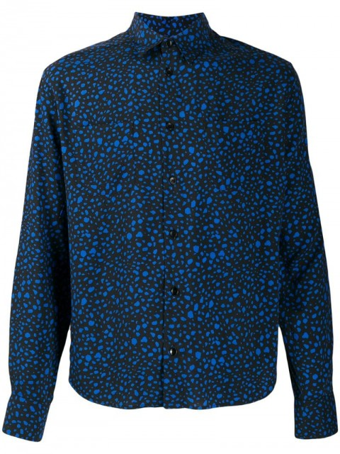 Saint Laurent - cropped speckle print shirt - men - Viscose - 42, 39, 40, 41, 43, 37 - Blue