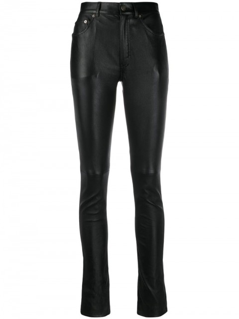 Saint Laurent - skinny-fit leather trousers - women - Leather/Lamb Skin/Spandex/Elastane - 36, 38 - Black