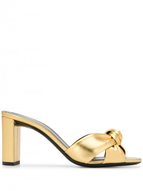 Saint Laurent - Bianca knotted detail 85mm mules - women - Leather - 36, 37.5, 36.5, 37 - GOLD