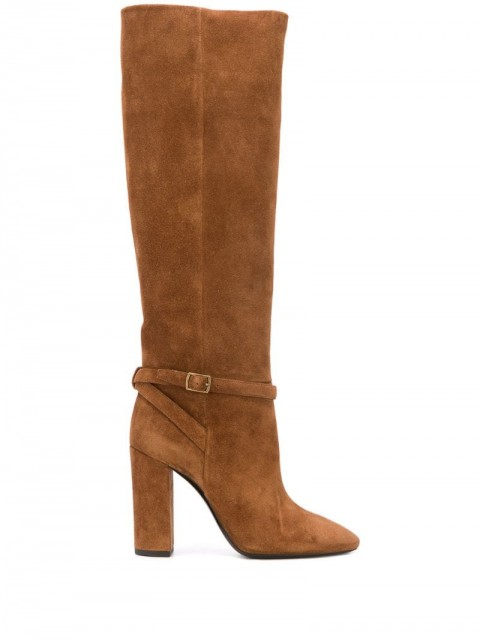 Saint Laurent - buckled knee-length boots - women - Leather - 36.5, 37, 37.5, 41 - Brown