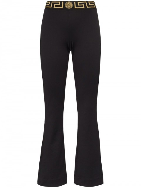 Versace - logo-waist track trousers - women - Cotton - 2, 3, 4 - Black