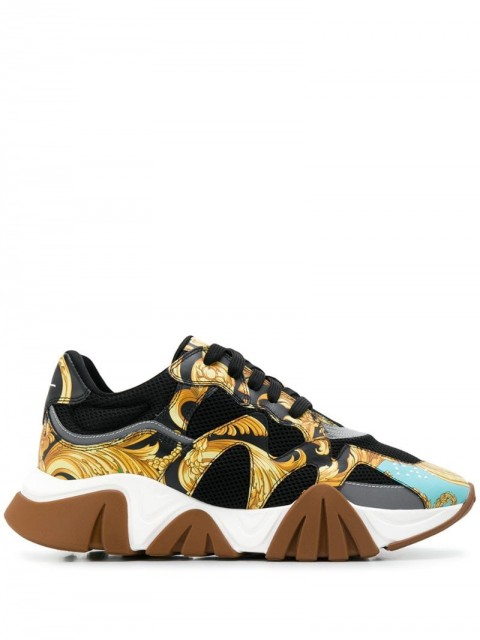 Versace - Baroque Squalo sneakers - men - Leather/Polyester/Rubber - 40, 40.5, 45, 39, 46, 38, 39.5, 41 - Black