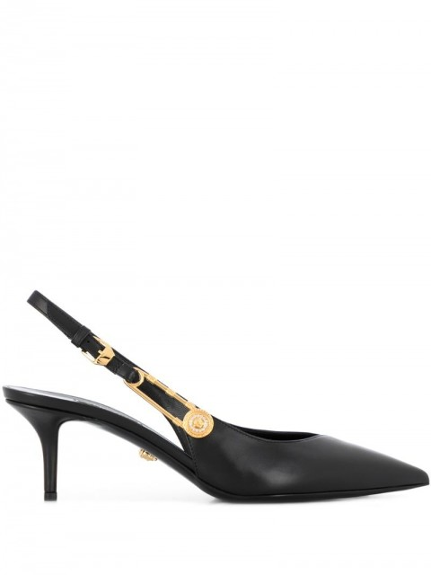 Versace - Safety Pin slingback pumps - women - Calf Leather/Leather - 35, 37.5, 38, 38.5, 39, 39.5, 40, 40.5, 41, 36, 36.5, 37 - Black