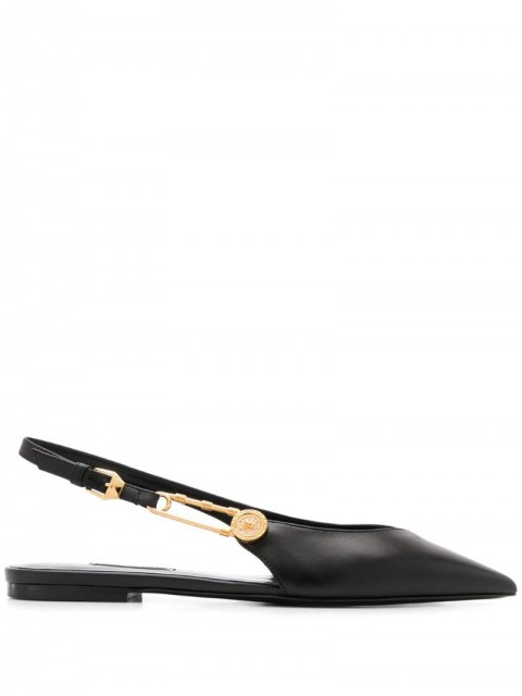 Versace - safety pin point-toe flats - women - Leather - 36, 37, 39, 36.5, 37.5, 38, 38.5, 39.5, 40, 40.5, 41, 35.5 - Black