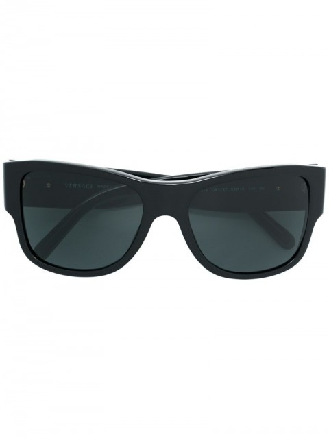 Versace Eyewear - oversized sunglasses - unisex - Acetate/WAX - 58 - Black