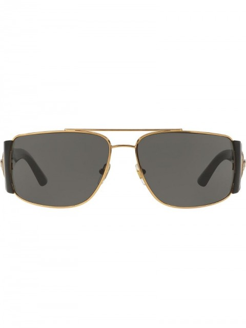 Versace Eyewear - wide arm aviators - men - metal - 63 - Black