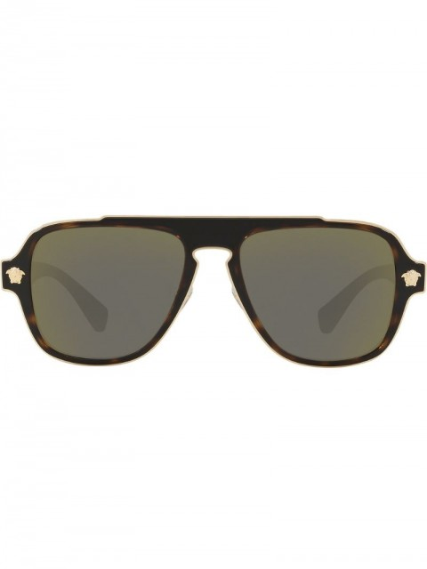 Versace Eyewear - square sunglasses - men - metal/WAX - 56 - Brown