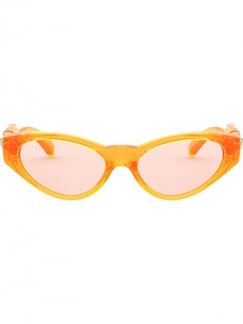 Versace Eyewear - oval frame glasses - women - Nylon - 54 - ORANGE