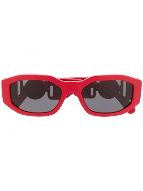 Versace Eyewear - logo plaque rectangular sunglasses - unisex - Acetate - 53 - Red