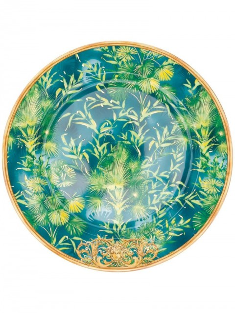 Versace Home - jungle-print round plate (30cm) - unisex - Porcelain - One Size - Green