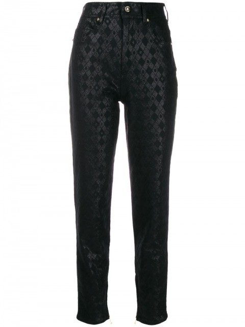 Versace Jeans Couture - printed slim trousers - women - Cotton/Polyester/Spandex/Elastane - 27 - Black