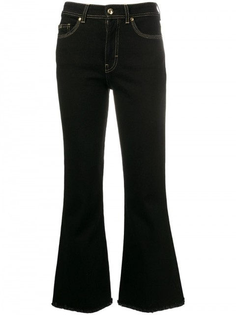 Versace Jeans Couture - high-rise flared denim jeans - women - Cotton/Polyester/Spandex/Elastane - 25, 26, 27, 30 - Black