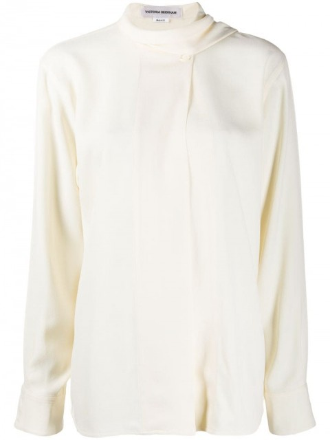 Victoria Beckham - scarf neck blouse - women - Acetate/Viscose/mother of pearl extract - 10, 8 - Neutrals