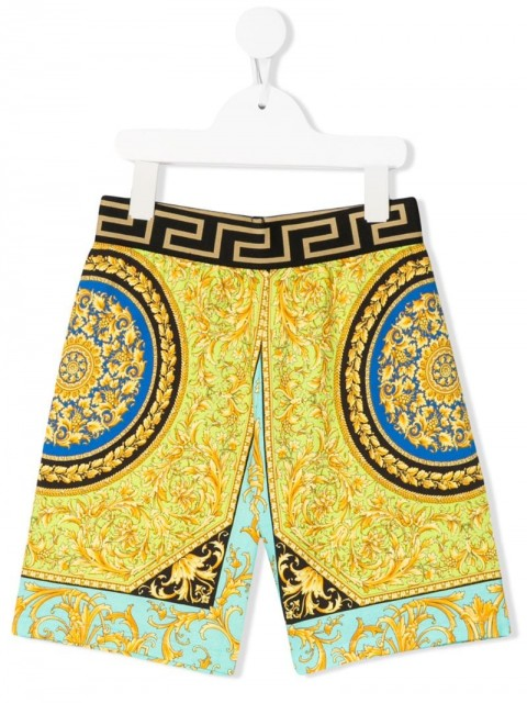 Young Versace - baroque print shorts - kids - Cotton/Polyester/Spandex/Elastane - 8 yrs, S, M, 4 yrs, 6 yrs, 5 yrs - yellow