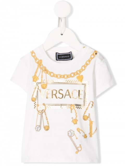 Young Versace - logo print T-shirt - kids - Cotton/Spandex/Elastane - 6-9, 12-18, 18-24, 24, 36 - White