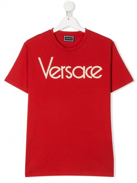 Young Versace - TEEN logo print T-shirt - kids - Cotton/Polyester/other fibers - L - Red