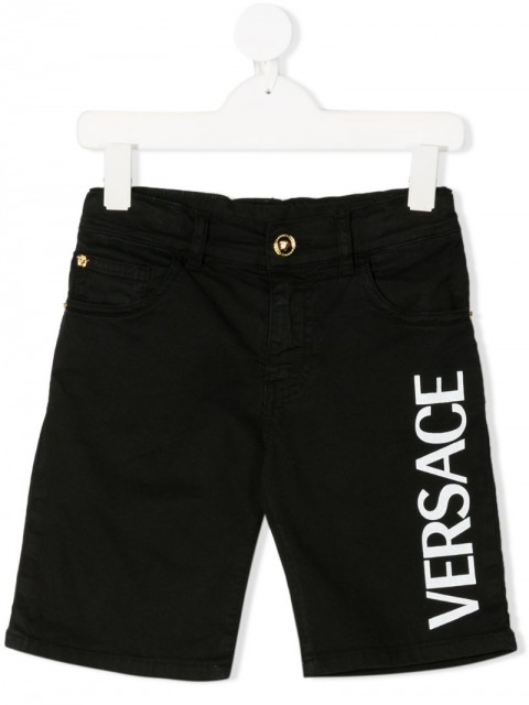 Young Versace - logo print denim shorts - kids - Cotton/Spandex/Elastane - 8 yrs, 6 yrs - Black