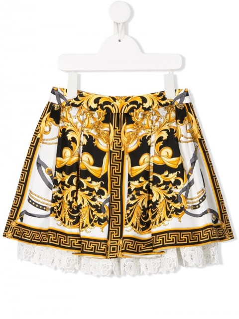 Young Versace - floral lace baroque skirt - kids - Silk/Polyamide/Viscose - 8 yrs, S, M - White