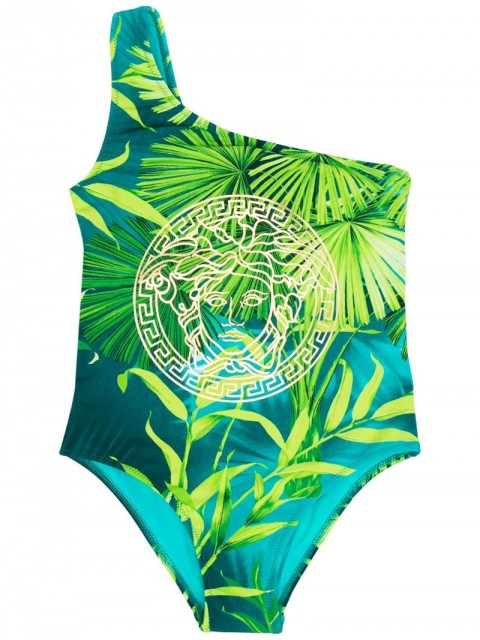 Young Versace - foliage-print one-shoulder swimsuit - kids - Polyamide/Spandex/Elastane - 8 yrs, S, 5 yrs, 6 yrs - Green