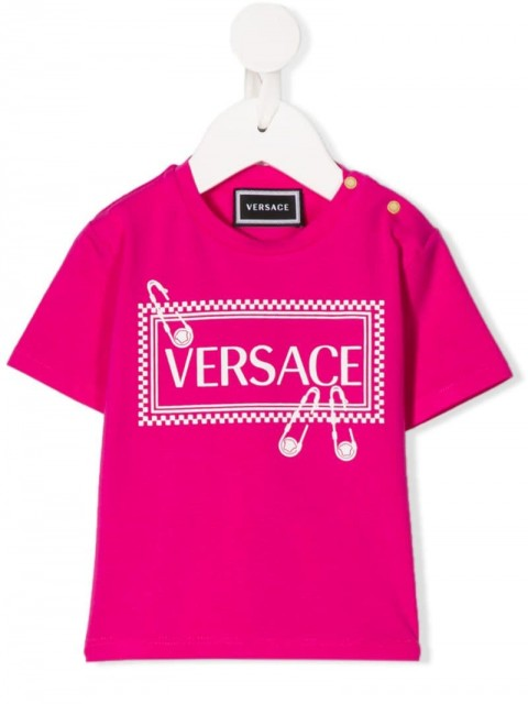 Young Versace - crew-neck logo T-shirt - kids - Cotton/Spandex/Elastane - 12, 18, 24, 36, 9 - PINK