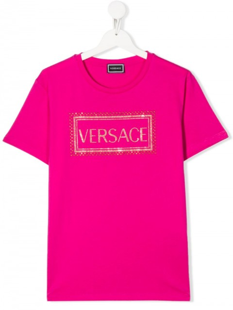 Young Versace - crew-neck logo T-shirt - kids - Cotton - 4 yrs - PINK