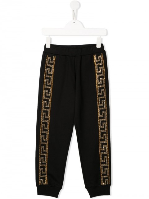 Young Versace - crystal-embellished joggers - kids - Cotton - 5 yrs, 6 yrs, 8 yrs, S, M - Black