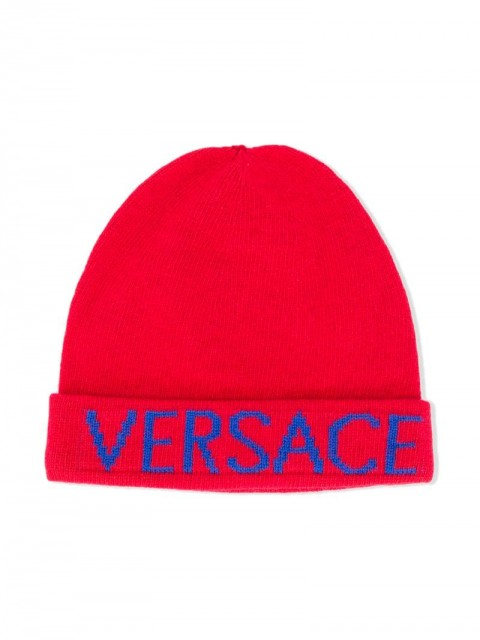 Young Versace - TEEN logo print beanie hat - kids - Polyester/Viscose/Cashmere/Wool - L - Red