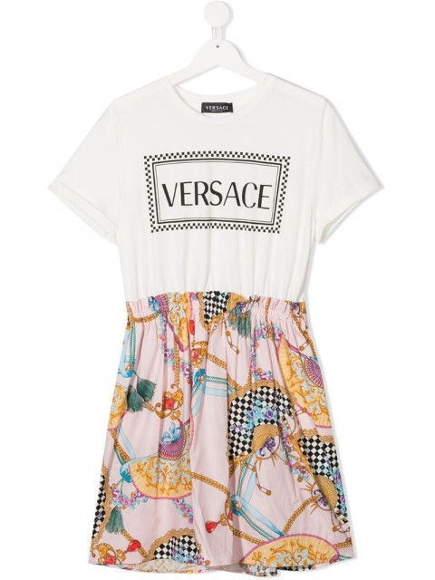 Young Versace - TEEN fan print dress - kids - Cotton/Spandex/Elastane - L - White