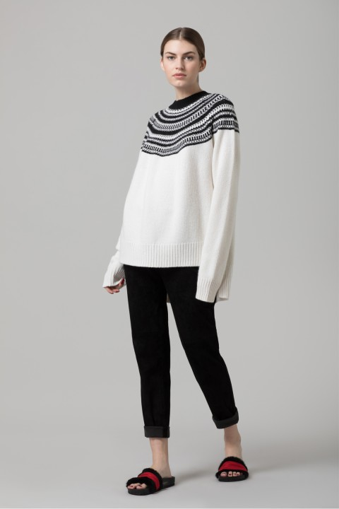 White Jacquard Knit Jumper