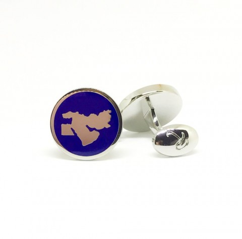 Reddendi Middle East Silver Cufflinks Navy Blue