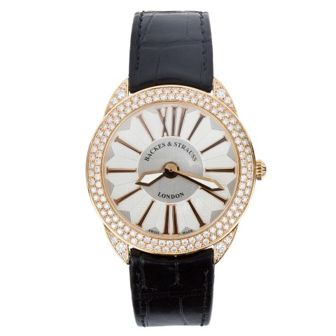 The Piccadilly Renaissance 33 Diamond Watch Rose Gold Leather Strap