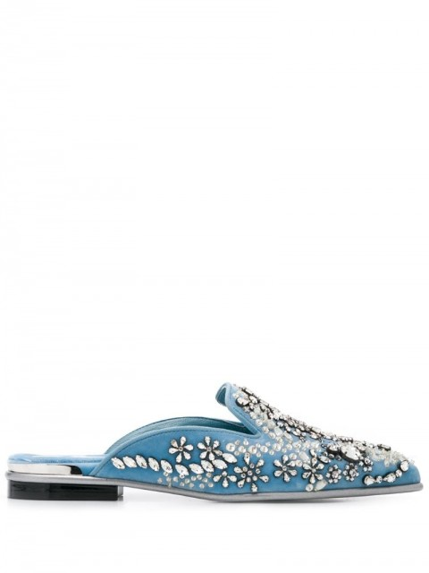 Alexander McQueen - rhinestone embellished slippers - women - Leather/pure cotton/Rubber - 36 - Blue