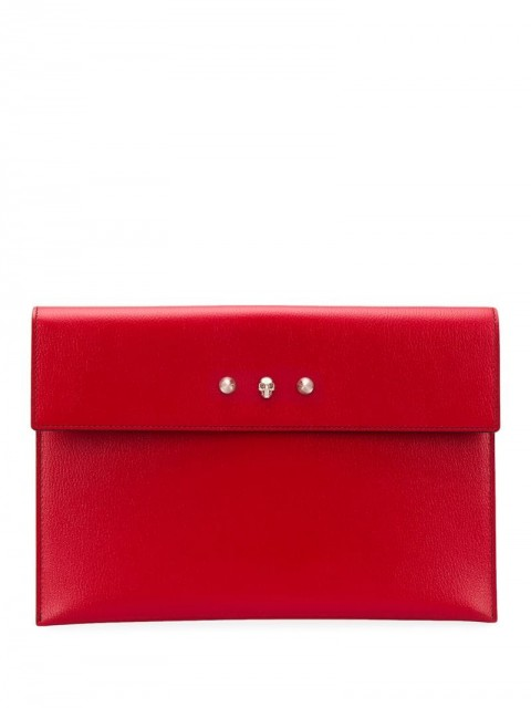 Alexander McQueen - foldover envelope clutch bag - women - Leather - One Size - Red