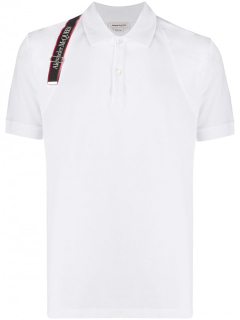 Alexander McQueen - logo strap polo shirt - men - Cotton/Polyester - S, M, L, XL - White