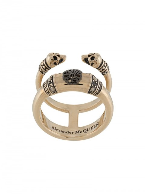 Alexander McQueen - Skull and Charm double-band ring - women - metal - 11, 13, 15 - GOLD