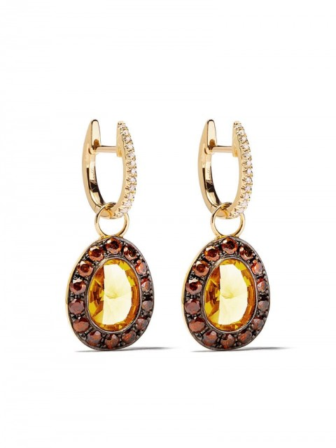 Annoushka - 18kt gold diamonds drop earrings - women - Diamond/18kt Gold/Citrine/Brown Diamond - One Size - 18ct Yellow Gold