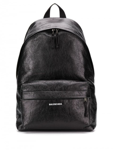 Balenciaga - logo printed backpack - men - Leather - One Size - Black