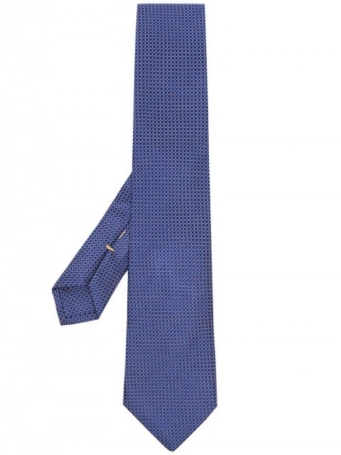 Canali - woven-effect pointed tie - men - Silk - One Size - Blue