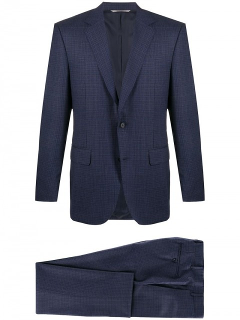 Canali - checked two-piece suit - men - Cupro/Wool - 48, 50, 56 - Blue
