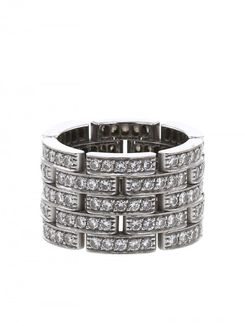 Cartier - 2010 pre-owned white gold Maillon Panthère large model diamond ring - women - Diamond/White Gold - 53 - SILVER