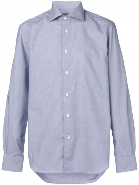 Corneliani - long-sleeve fitted shirt - men - Cotton - 44 - Blue