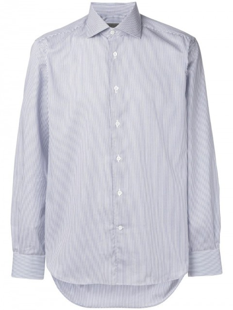 Corneliani - stripe long-sleeve shirt - men - Cotton - 44 - Blue
