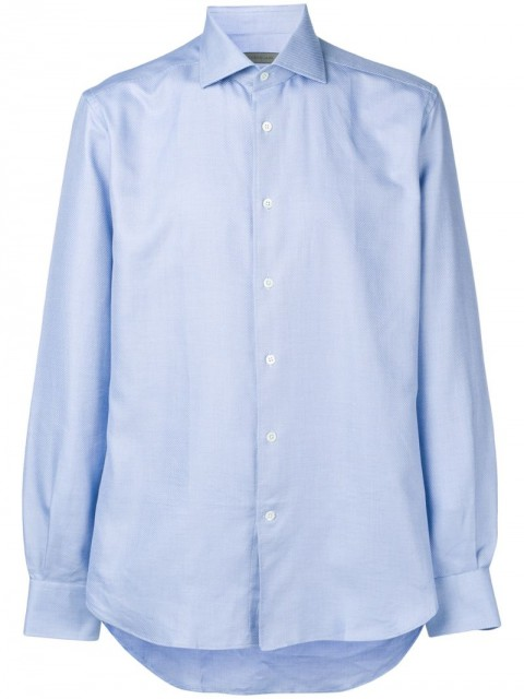 Corneliani - long-sleeve fitted shirt - men - Cotton - 43 - Blue