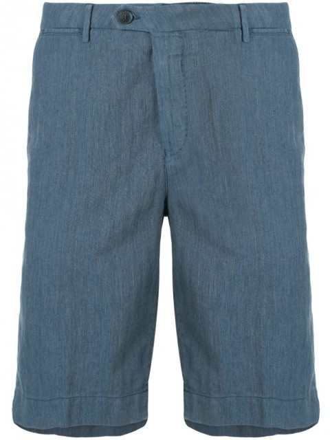 Corneliani - Chino Chambray Bermuda shorts - men - Cotton/Polyester/Flax - 48, 50, 52, 56 - Blue